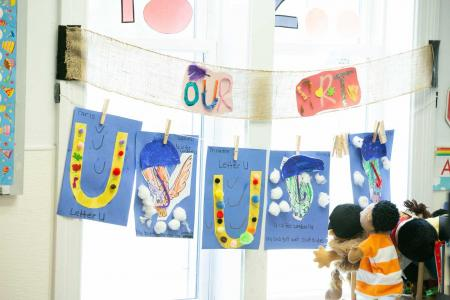Art wall and learning the letter U